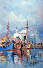 Acuarela marina: Puerto y ermita; trabajo y Fe.